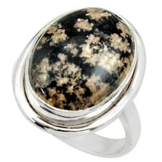 12.77cts natural firework obsidian 925 silver solitaire ring size 7.5 r28701