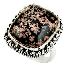 17.18cts natural firework obsidian 925 silver solitaire ring size 7.5 r28707