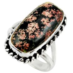 12.29cts natural firework obsidian 925 silver solitaire ring size 6.5 r28716
