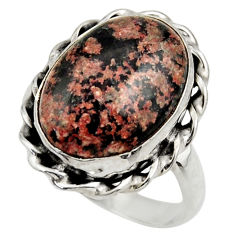 10.82cts natural firework obsidian 925 silver solitaire ring size 8.5 r28812