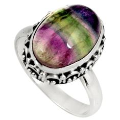 6.04cts natural fluorite 925 sterling silver solitaire ring size 8 d39033