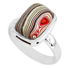 4.82cts natural fordite detroit agate 925 silver solitaire ring size 7 r92895