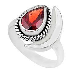 2.28cts natural garnet 925 sterling silver adjustable moon ring size 6.5 r89631
