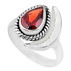 2.09cts natural garnet 925 sterling silver adjustable moon ring size 7 r89632
