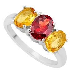 4.89cts natural garnet citrine 925 sterling silver 3 stone ring size 9 r71300
