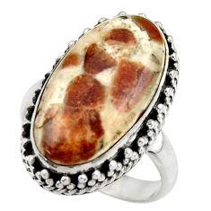 Natural garnet in limestone spessartine 925 silver solitaire ring size 8 r28585