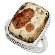 Natural garnet in limestone spessartine 925 silver solitaire ring size 8 r28587
