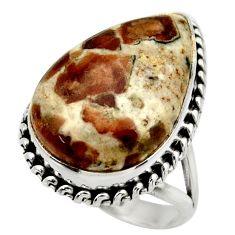 Natural garnet in limestone spessartine 925 silver solitaire ring size 8 r28641