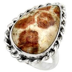 Natural garnet in limestone spessartine silver solitaire ring size 8.5 r28588