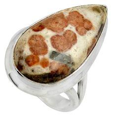 Natural garnet in limestone spessartine silver solitaire ring size 7.5 r28589