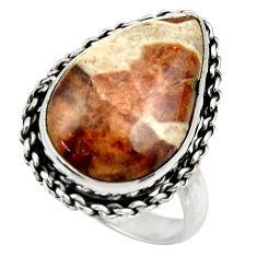 Natural garnet in limestone spessartine silver solitaire ring size 8.5 r28592