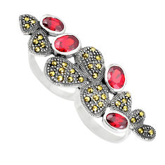 6.75cts natural red garnet marcasite 925 sterling silver ring size 6 c16009
