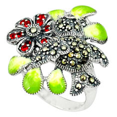1.05cts natural red garnet marcasite enamel 925 silver ring size 6.5 c18594