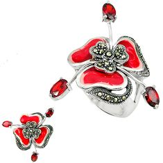 3.21cts natural red garnet marcasite enamel 925 silver ring size 6.5 c18556