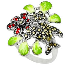 0.85cts natural red garnet marcasite enamel 925 silver ring size 7.5 c18596