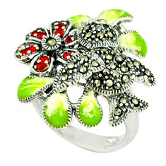 1.15cts natural red garnet marcasite enamel 925 silver ring size 7.5 c18583