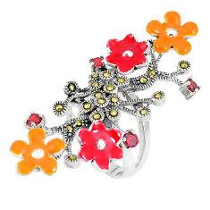 1.10cts natural red garnet marcasite enamel 925 silver flower ring size 6 c16162