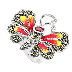 1.31cts natural red garnet marcasite 925 silver butterfly ring size 5.5 c16288