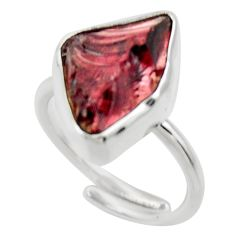8.05cts natural garnet rough 925 silver adjustable solitaire ring size 6 r29666