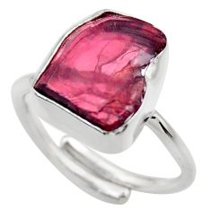 7.62cts natural garnet rough 925 silver adjustable solitaire ring size 7 r29672