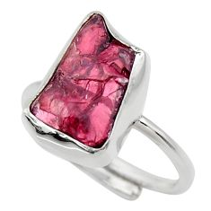 7.04cts natural garnet rough 925 silver adjustable solitaire ring size 8 r29665