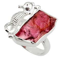 9.38cts natural garnet rough 925 silver seahorse solitaire ring size 6.5 r29983