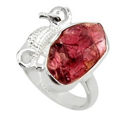 7.91cts natural garnet rough 925 silver seahorse solitaire ring size 6.5 r29986