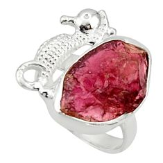7.89cts natural garnet rough 925 silver seahorse solitaire ring size 5.5 r29989