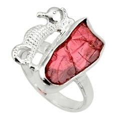7.89cts natural garnet rough 925 silver seahorse solitaire ring size 7 r29993