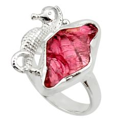 7.62cts natural garnet rough 925 silver seahorse solitaire ring size 7 r29999
