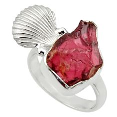 9.39cts natural garnet rough 925 silver seahorse solitaire ring size 8 r29985