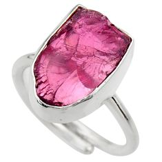 7.82cts natural garnet rough silver adjustable solitaire ring size 6.5 r29676