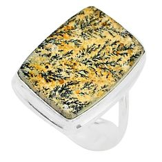 11.66cts natural germany psilomelane dendrite 925 silver ring size 6 t10434