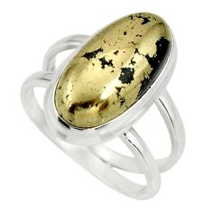 6.96cts natural golden pyrite in magnetite silver solitaire ring size 8.5 r27222