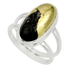 6.54cts natural golden pyrite in magnetite silver solitaire ring size 7.5 r27223