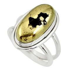 6.35cts natural golden pyrite in magnetite silver solitaire ring size 7.5 r27227