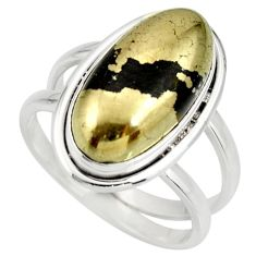 6.51cts natural golden pyrite in magnetite silver solitaire ring size 8.5 r27228