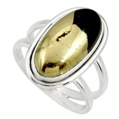 6.76cts natural golden pyrite in magnetite silver solitaire ring size 8 r27225