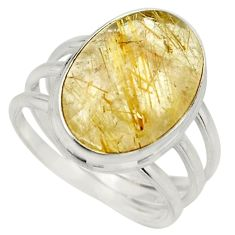 13.84cts natural golden rutile 925 silver solitaire ring jewelry size 9.5 r26492