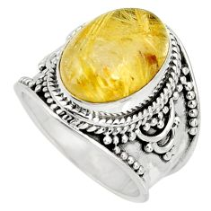 7.02cts natural golden rutile 925 silver solitaire ring jewelry size 6.5 r27541
