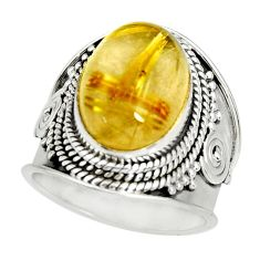 6.67cts natural golden rutile 925 silver solitaire ring jewelry size 6.5 r27551