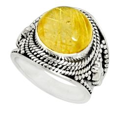 5.92cts natural golden rutile 925 silver solitaire ring jewelry size 6 r27545