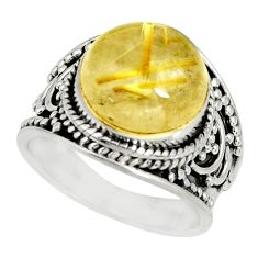 5.93cts natural golden rutile 925 silver solitaire ring jewelry size 6 r27554
