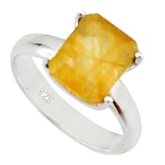 4.08cts natural golden rutile 925 silver solitaire ring jewelry size 7 r22765