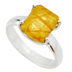 4.08cts natural golden rutile 925 silver solitaire ring jewelry size 7 r22766