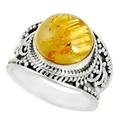 5.91cts natural golden rutile 925 silver solitaire ring jewelry size 7 r27550