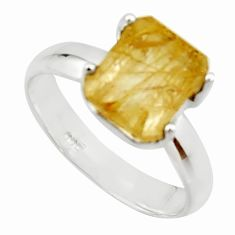 4.22cts natural golden rutile 925 silver solitaire ring jewelry size 8 r22761