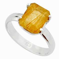 4.22cts natural golden rutile 925 silver solitaire ring jewelry size 8 r22767