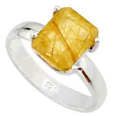 4.23cts natural golden rutile 925 silver solitaire ring jewelry size 8 r22768