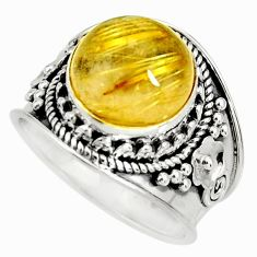 12.18cts natural golden rutile 925 silver solitaire ring jewelry size 8 r27543
